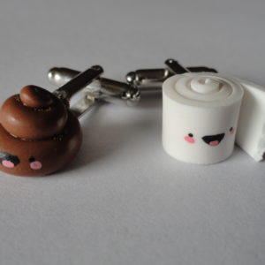 Happy Poop and Toilet Paper Cufflinks Wedding Featured