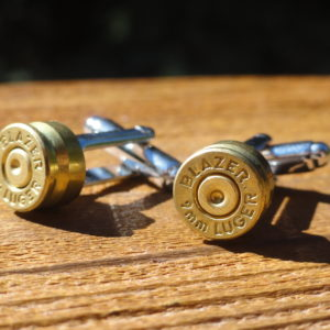9mm Blazer Luger Gold Brass Cufflinks Wedding K Featured