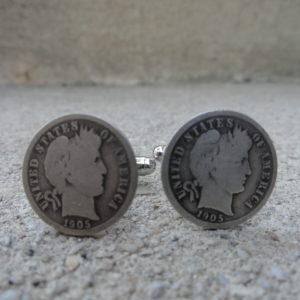 Barber Dime Coin Cufflinks Wedding K Featured