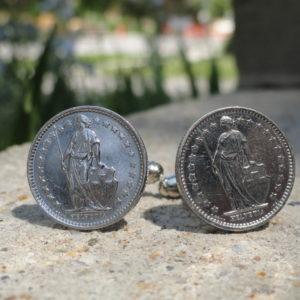 Half Swiss Franc Coin Cufflinks Wedding K featured