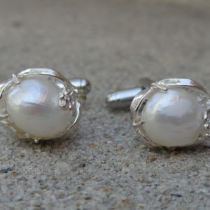 Pearl in Silver Cufflinks Wedding K Featured