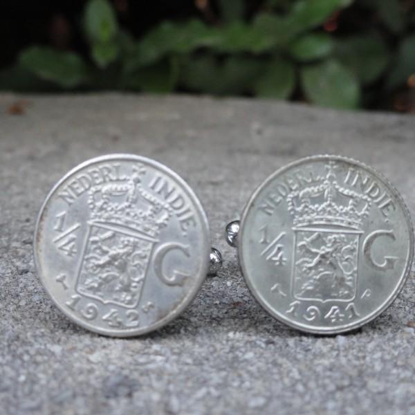 Quarter Gulden Dutch East Indies Coin Cufflinks Wedding K Featured