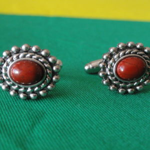 Red Jasper in Silver Frame Cufflinks Wedding K Featured