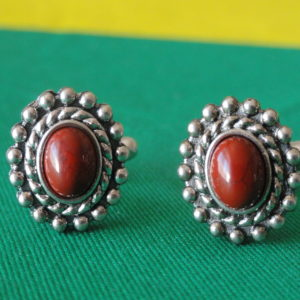 Red Jasper in Silver Frame Vertical Cufflinks Wedding K Featured