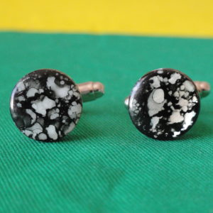 Black and White Spotted Shell Cufflinks Wedding K Featured