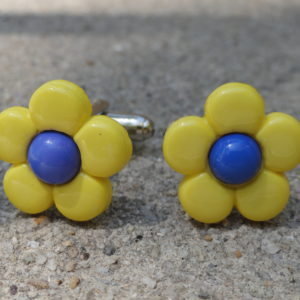 Yellow and Blue Flower Cufflinks Wedding K Featured