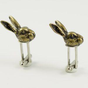 Brass Jack Rabbit Head Cufflinks Wedding K Featured