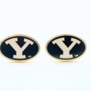BYU Y Gold Logo Brigham Young University College NCAA Cufflinks Wedding Featured S