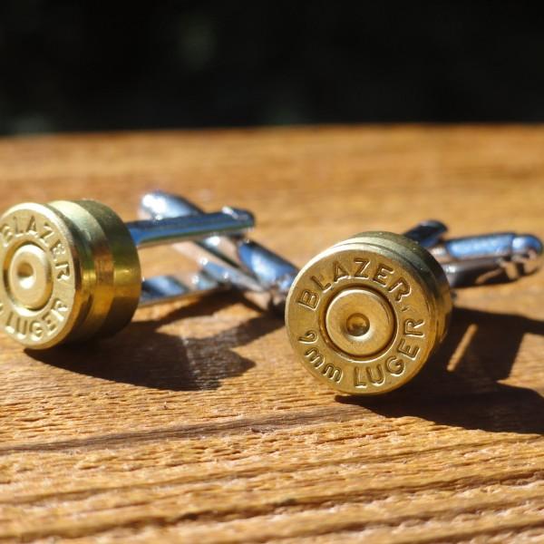9mm Blazer Luger Gold Brass Cufflinks Wedding K Featured