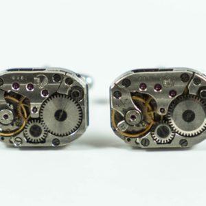 Rectangular Steampunk Watch Movement Gear Cufflinks Wedding Featured S