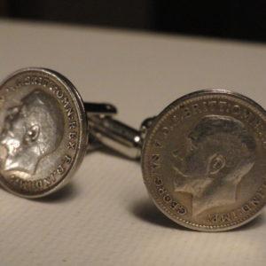 Sterling Silver British Threepence Coin Cufflinks Wedding K Featured