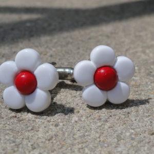 White and Red Flower Cufflinks Wedding K Featured