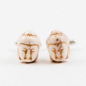 White Buddha Head Buddhism Cufflinks Wedding S Featured