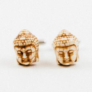 White Cream Buddha Head Buddhism Cufflinks Wedding S Featured
