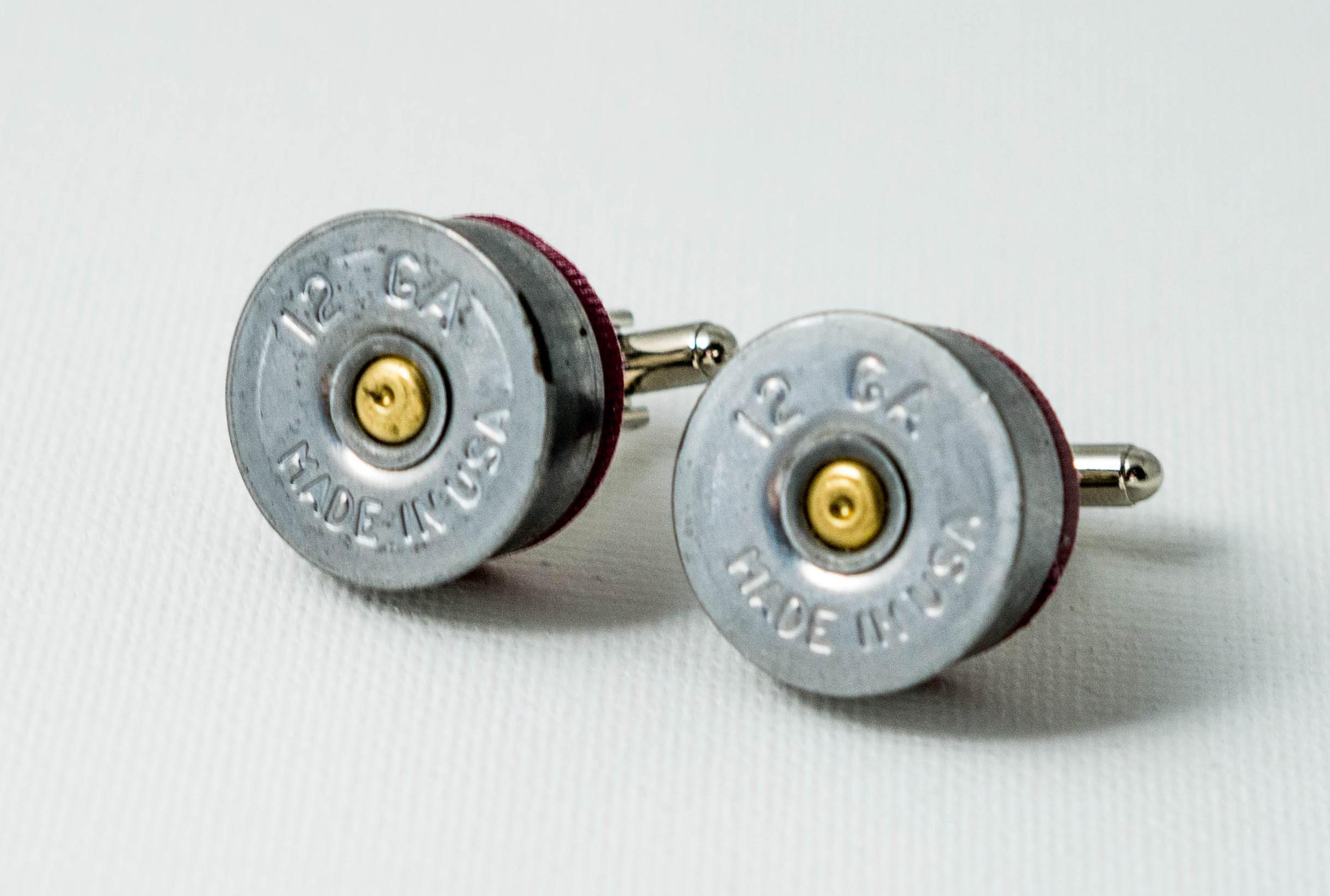 Hull 12 gauge shotgun cartridge cap gents cufflinks Rustic fashion,